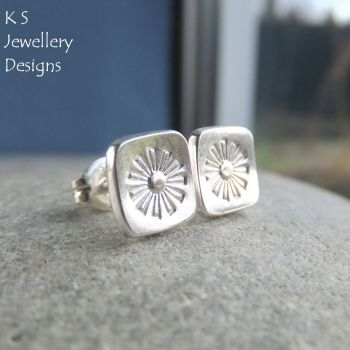 Sterling Silver Stud Earrings - Stamped Flower Squares #3
