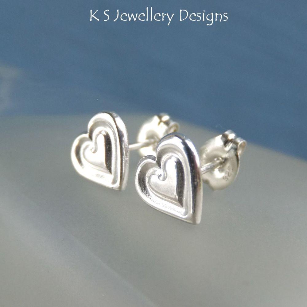 Sterling Silver Stud Earrings - Stamped Hearts