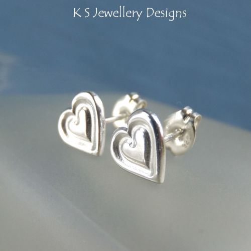 Sterling Silver Stud Earrings - Stamped Hearts