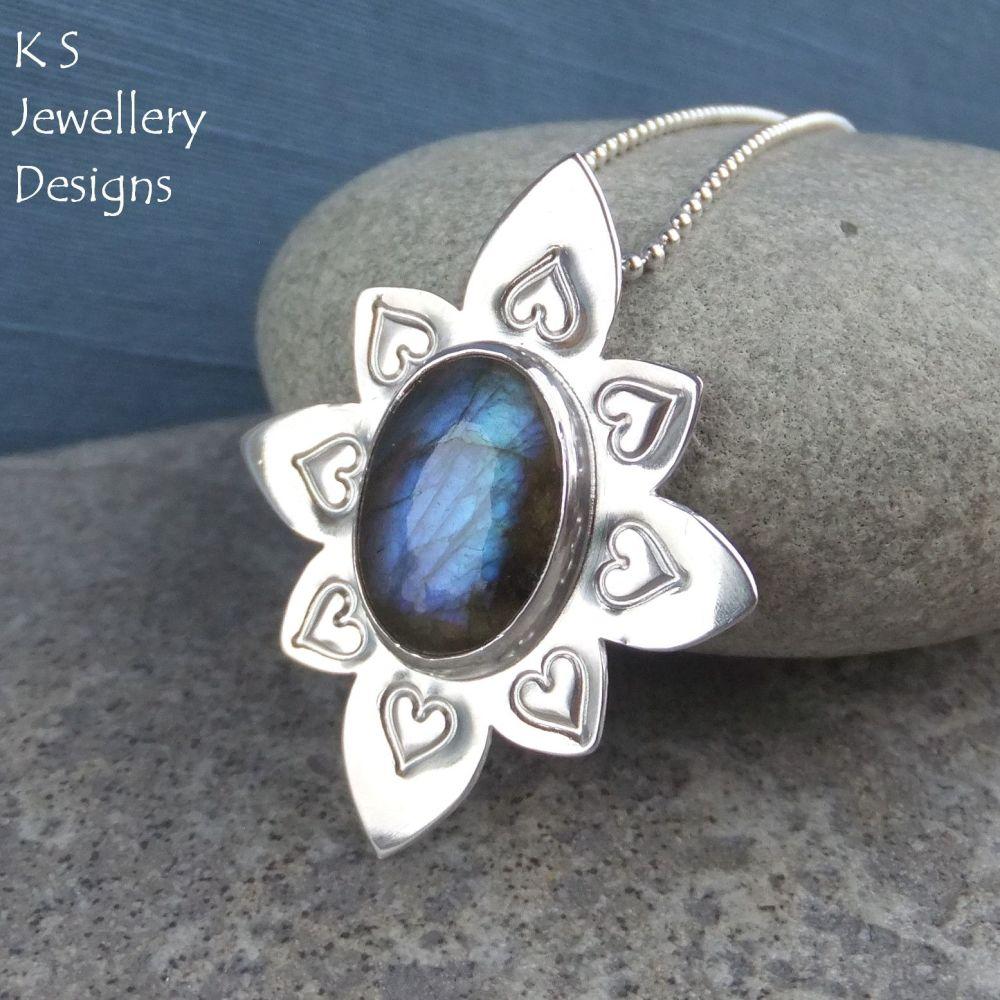 Labradorite Sterling Silver Flower Pendant - Stamped Heart Petals