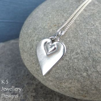Stamped Heart Sterling Silver Pendant
