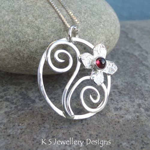 Rhodolite Garnet Flower and Swirls Sterling Silver Circle Pendant