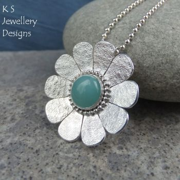Amazonite Sterling Silver Daisy Pendant - Textured Flower