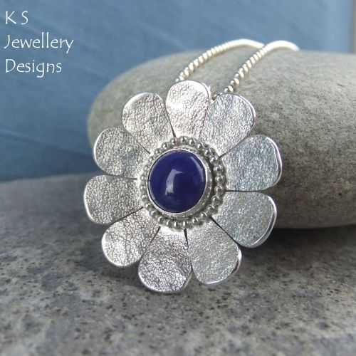 Lapis Lazuli Sterling Silver Daisy Pendant - Textured Flower