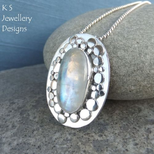 Rainbow Moonstone Random Pebbles Frame Sterling Silver Pendant