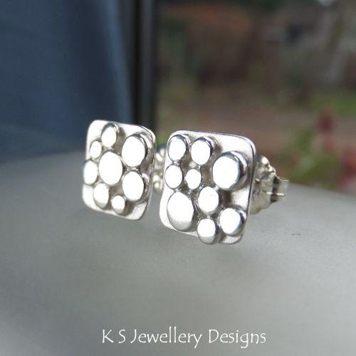 Sterling Silver Random Pebbles Square Stud Earrings