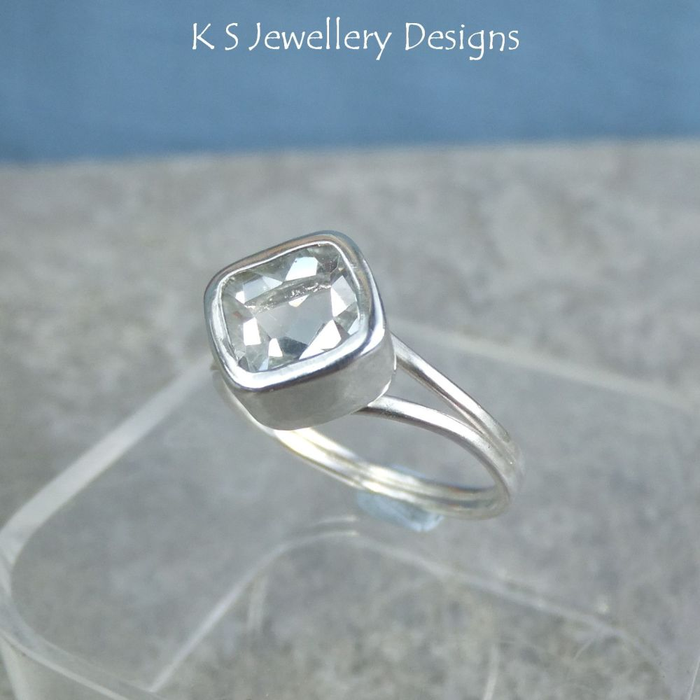 White Topaz Square Sterling Silver Ring (UK size P1/2 / US size 8 )