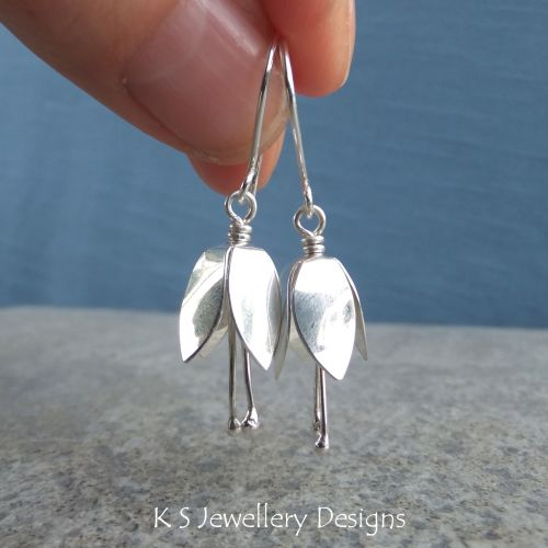 Bell Flowers - Sterling Silver Earrings - Shiny Finish
