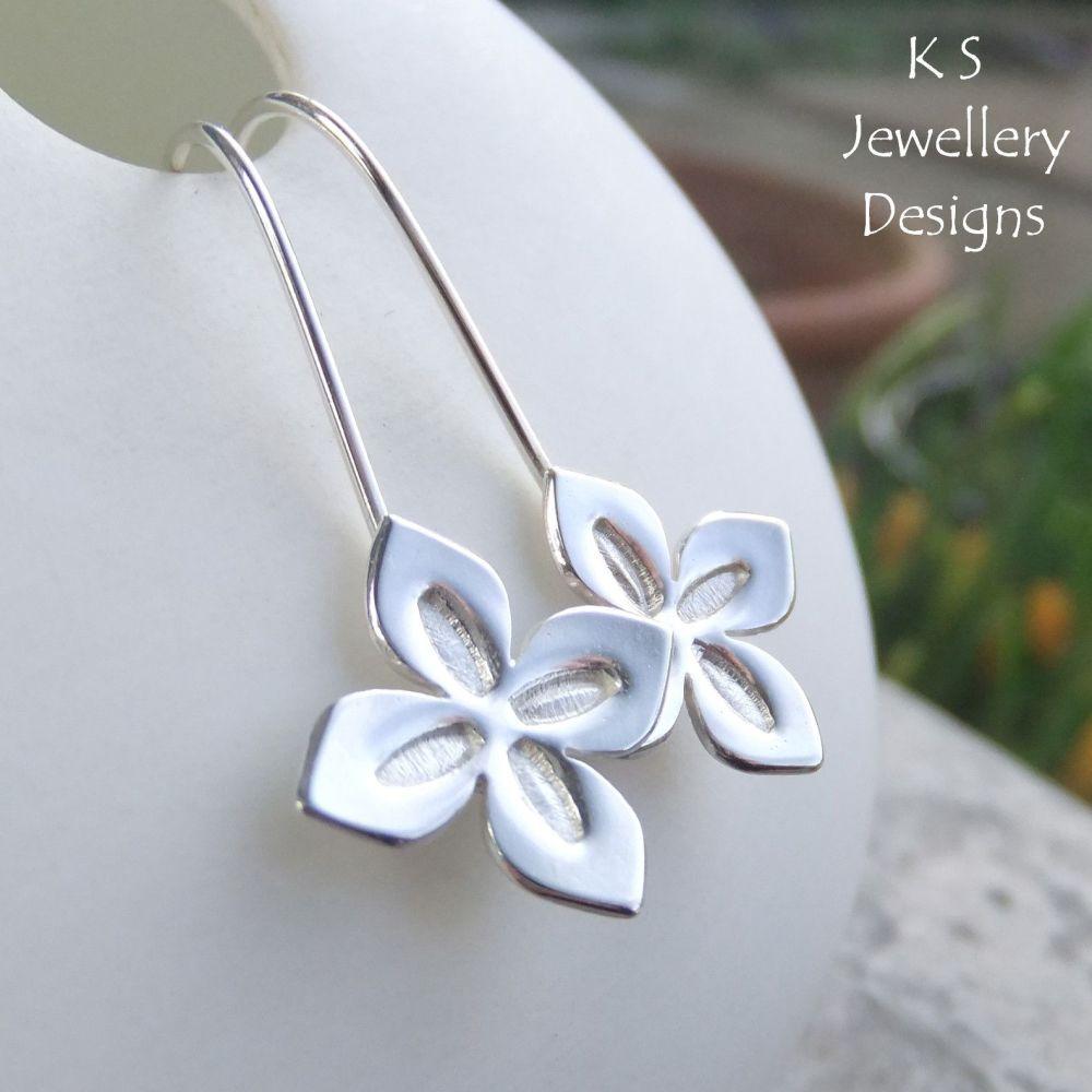 Four Petal Flowers - Sterling Silver Earrings