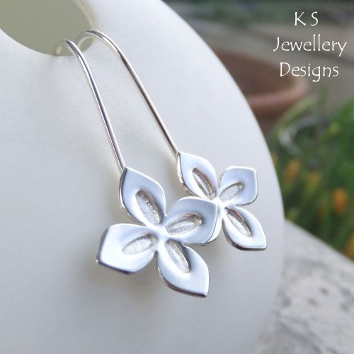 Four Petal Flowers - Sterling Silver Earrings