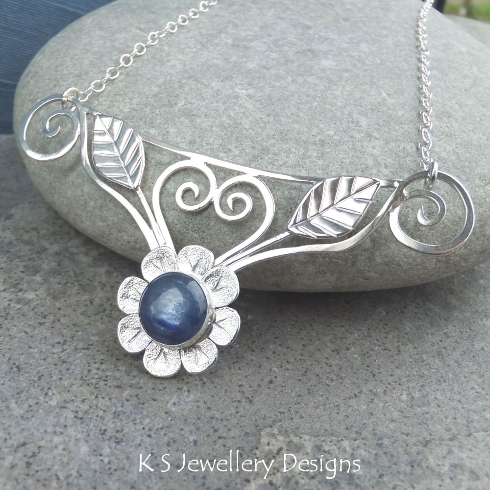 Kyanite Flower and Leaves Sterling Silver Bib Necklace