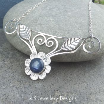 *SALE was £110* Kyanite Flower and Leaves Sterling Silver Necklace