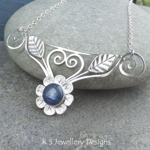 Kyanite Flower and Leaves Sterling Silver Necklace