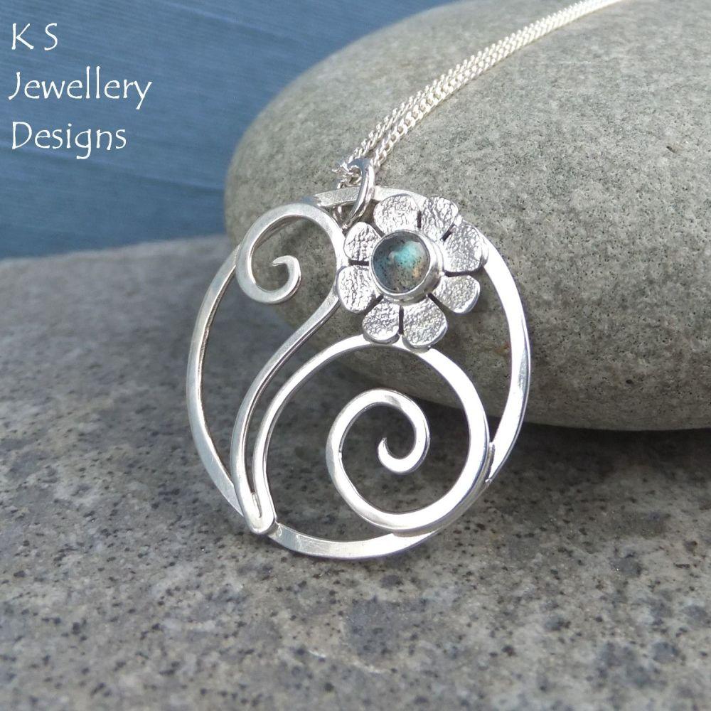 Labradorite Flower and Swirls Sterling Silver Circle Pendant