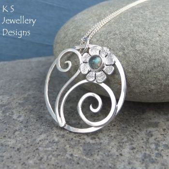Labradorite Flower and Swirls Sterling Silver Circle Pendant