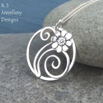 Daisy Flower and Swirls Sterling Silver Circle Pendant