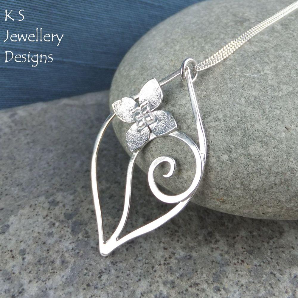 Four Petal Flower Swirl Leaf Sterling Silver Pendant