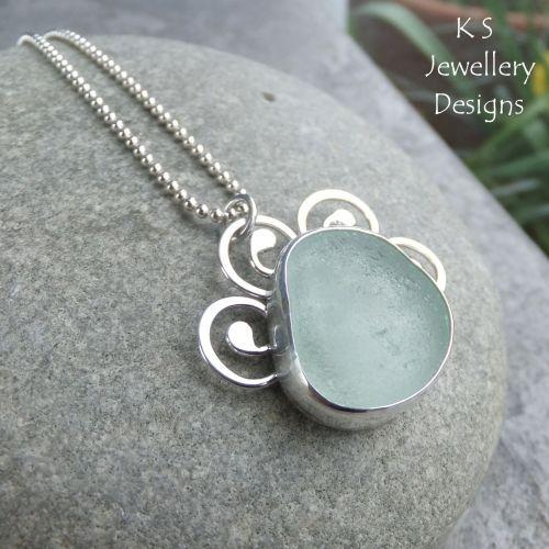 Aqua Sea Glass Sterling Silver Pendant - Sea Life