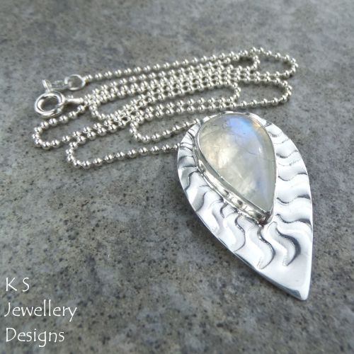 Rainbow Moonstone Wavy Textured Sterling Silver Drop Pendant