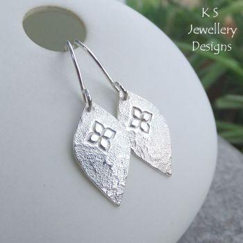 Stamped Flower Drops Sterling Silver Earrings