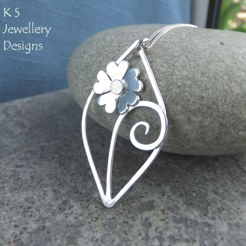 Heart Blossom Flower Swirl Leaf Sterling Silver Pendant