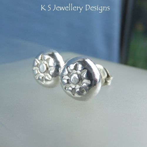 Sun Textured Pebbles - Sterling Silver Stud Earrings