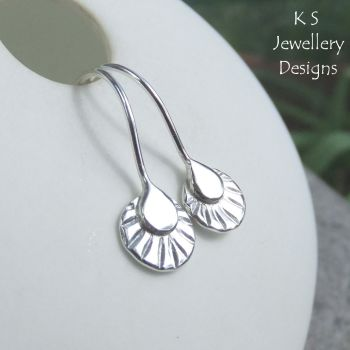 Sterling Silver Textured Disc Drop Earrings (version 1)
