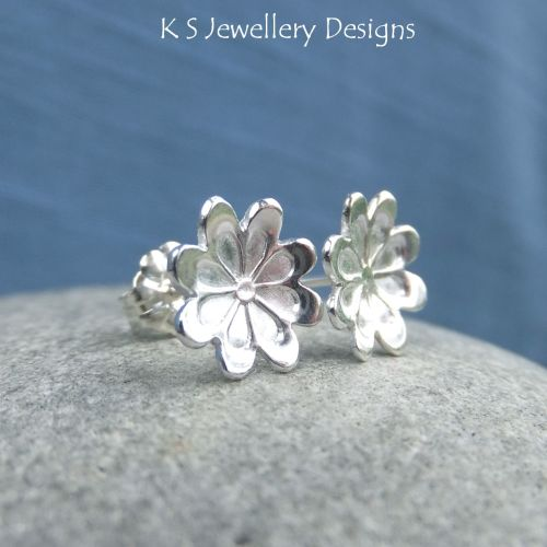 Daisy Blossom Sterling Silver Stud Earrings