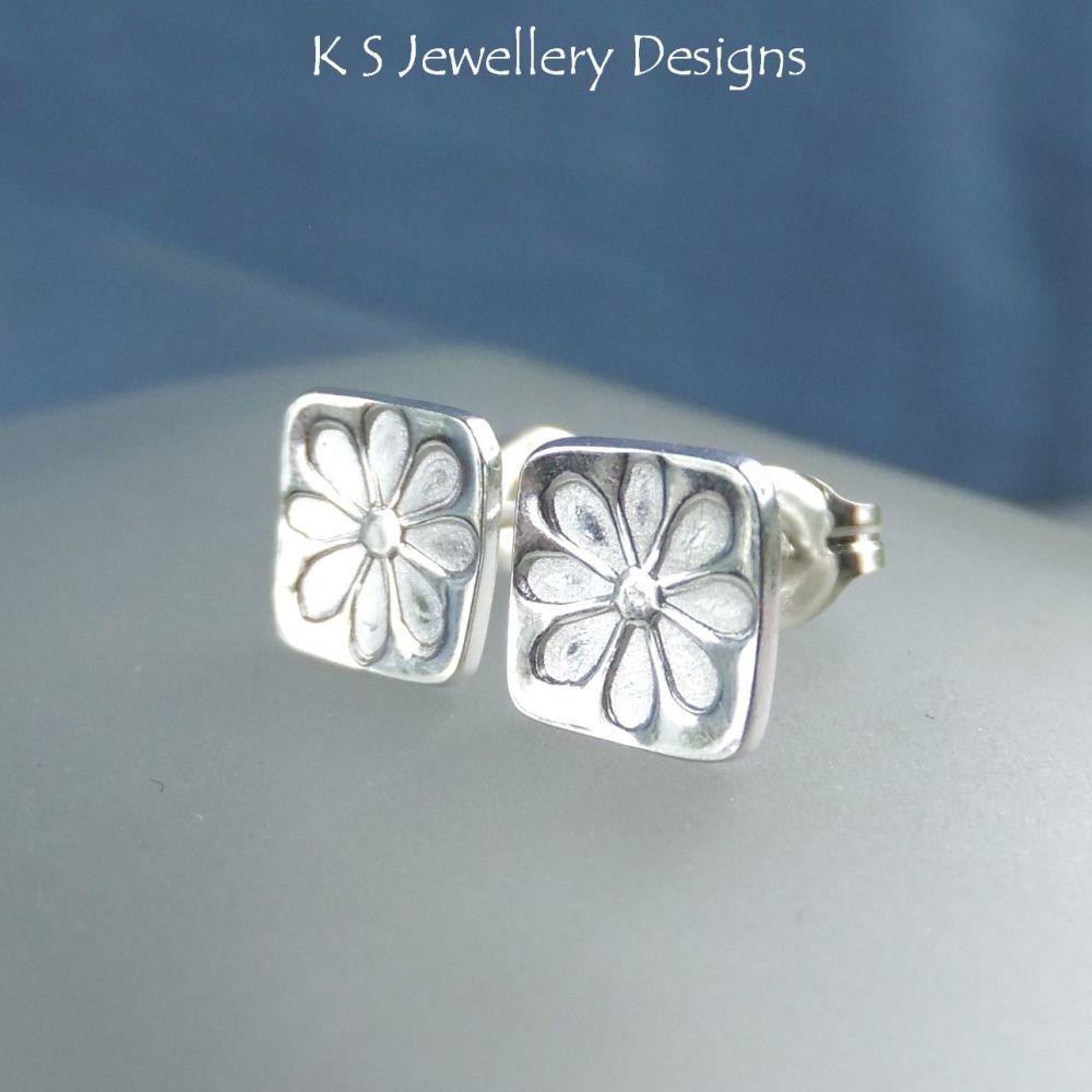 Sterling Silver Stud Earrings - Stamped Flower Squares #4