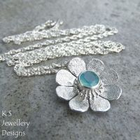 Aqua Chalcedony Sterling Silver Daisy Pendant - Textured Flower