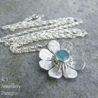 Aqua Chalcedony Sterling Silver Daisy Pendant - Textured Flower