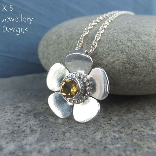 Citrine Sterling Silver Buttercup Pendant - Textured Flower