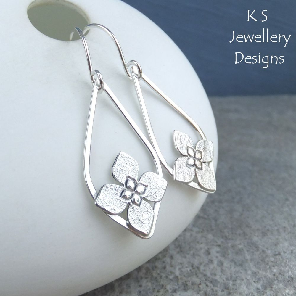 Framed Flower Drops Sterling Silver Earrings