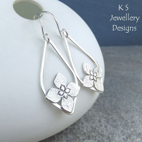 Framed Flower Drops Sterling Silver Earrings