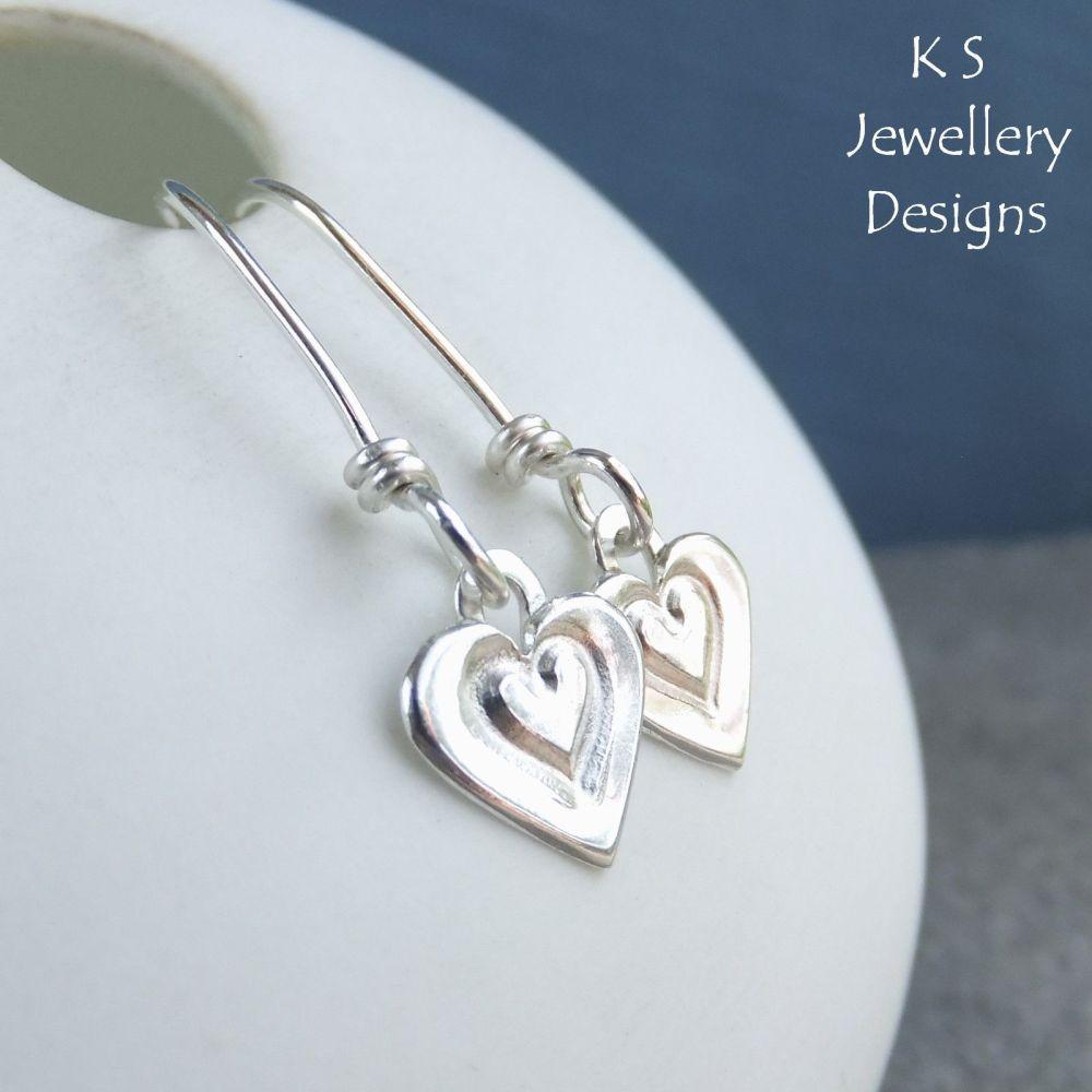 Stamped Heart Dangly Sterling Silver Earrings - Little Hearts
