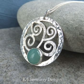 Amazonite Sterling Silver Textured Waves & Dappled Circle Pendant