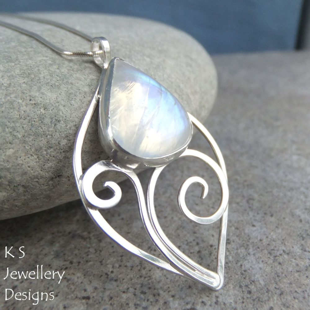 Rainbow Moonstone Sterling Silver Flower Bud Pendant - Swirl Leaf