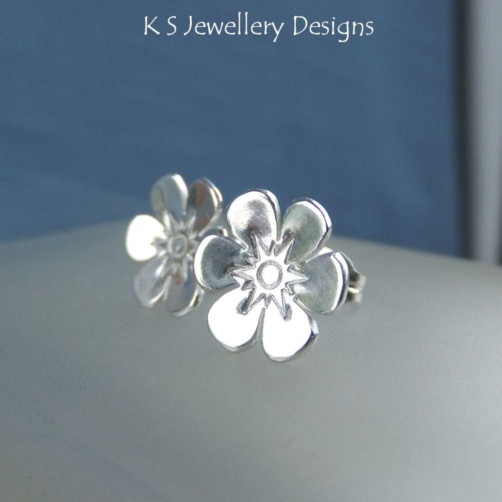 Six Petal Flower Sterling Silver Stud Earrings