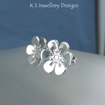 Six Petal Flower Sterling Silver Stud Earrings