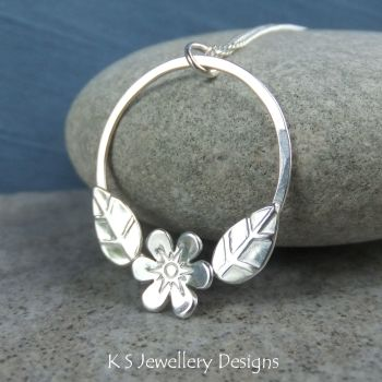 Flower and Leaves Circle Sterling Silver Pendant