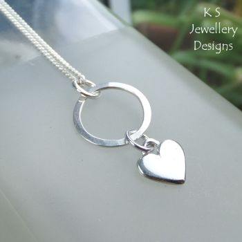 Little Heart Charm Circle Sterling Silver Pendant