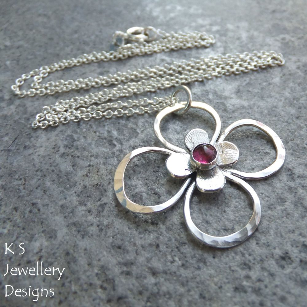 Pink Tourmaline Sterling Silver Flower Pendant - Four Petal Blossom