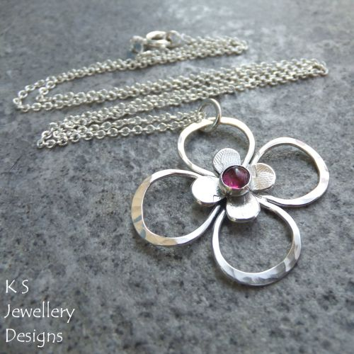 Pink Tourmaline Sterling Silver Flower Pendant - Four Petal Blossom