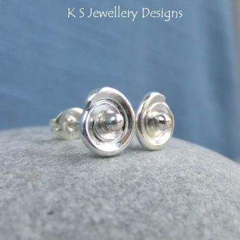 Little Spirals - Fine Silver & Sterling Silver Stud Earrings