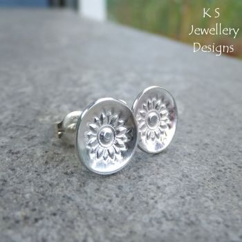 Sunflowers - Sterling Silver Stud Earrings - Stamped Flower Discs