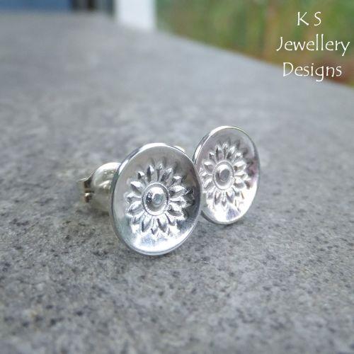 Sunflowers - Sterling Silver Stud Earrings - Stamped Flower Discs