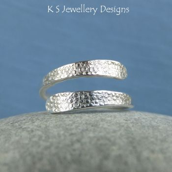 * RESERVED - Bubbles Textured Wraparound Sterling Silver Ring (Small to Medium) - Adjustable to fit many sizes