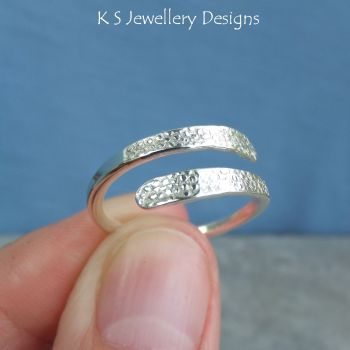 Wraparound Sterling Silver Ring - BUBBLES TEXTURE - Adjustable to fit many sizes (made to order)