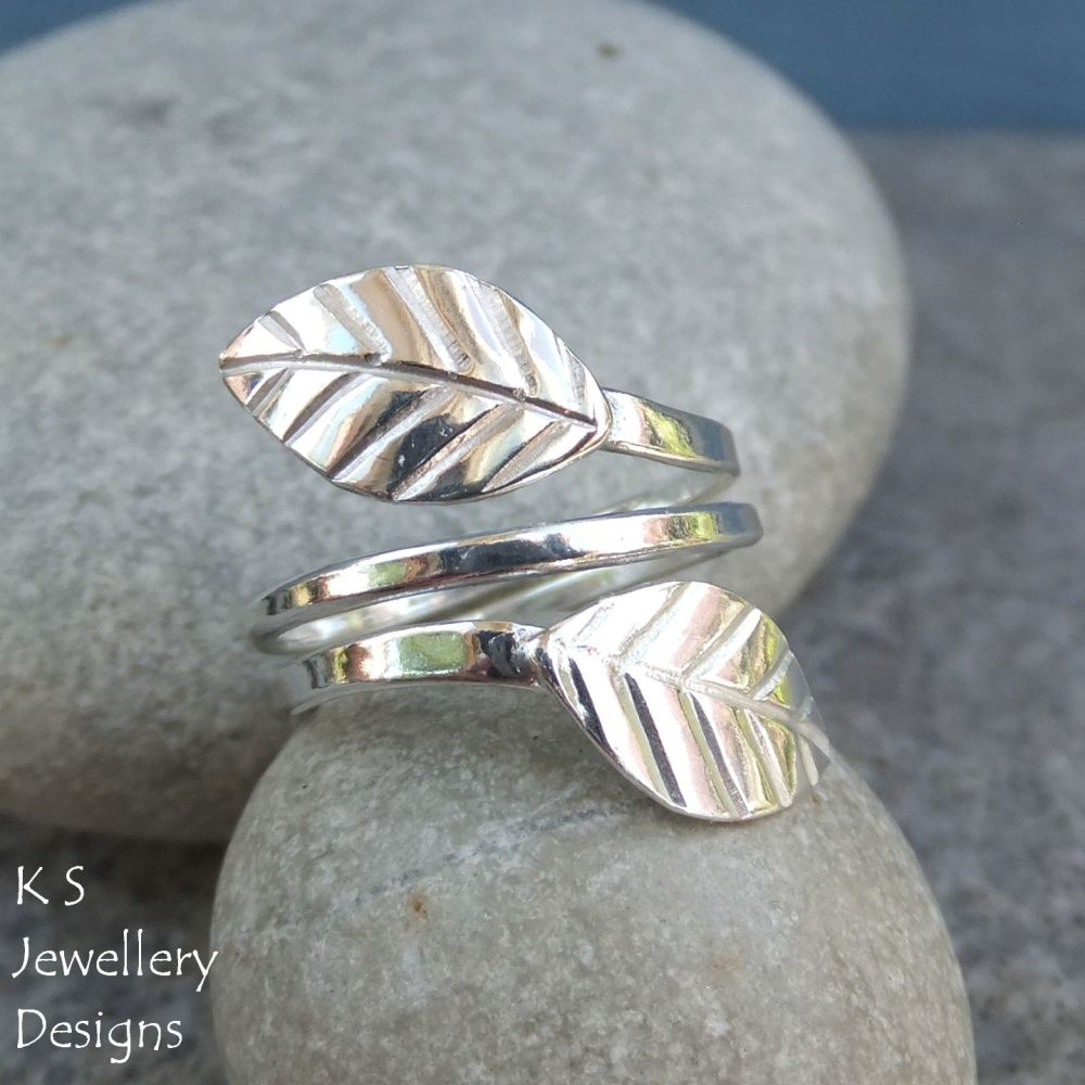 Wraparound Leaves - Sterling & Fine Silver Ring (Medium) - Adjustable to fi