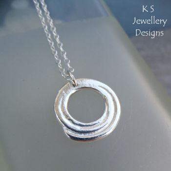 Hammered Spiral Fine Silver & Sterling Silver Pendant